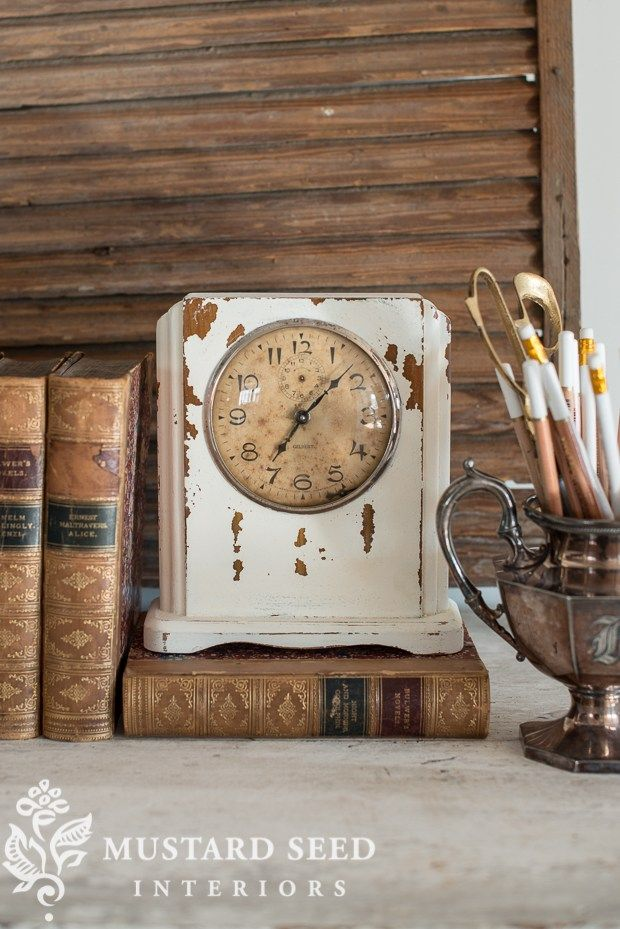 A vintage clock is easily updated into a stylish piece of - Mustard seed interiors ...
