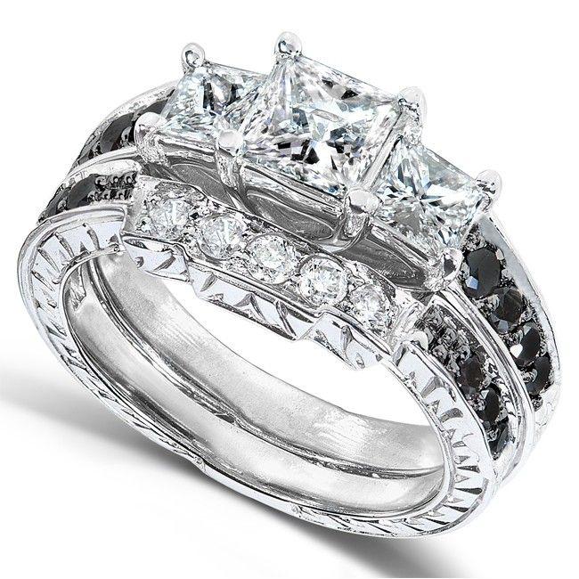 Annello 14k White Gold 1 7 8ct TDW Diamond 3 Piece Bridal Ring Set By