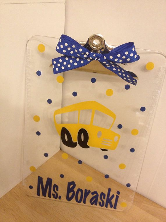 Personalized with name clear acrylic clipboard, school bus driver or other design, polka dots, back to school gift