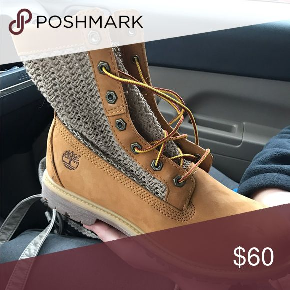 Women's timberland boots Brand new, worn once. Timberlands with a crochet/lace on side. Timberland Shoes Combat & Moto Boots