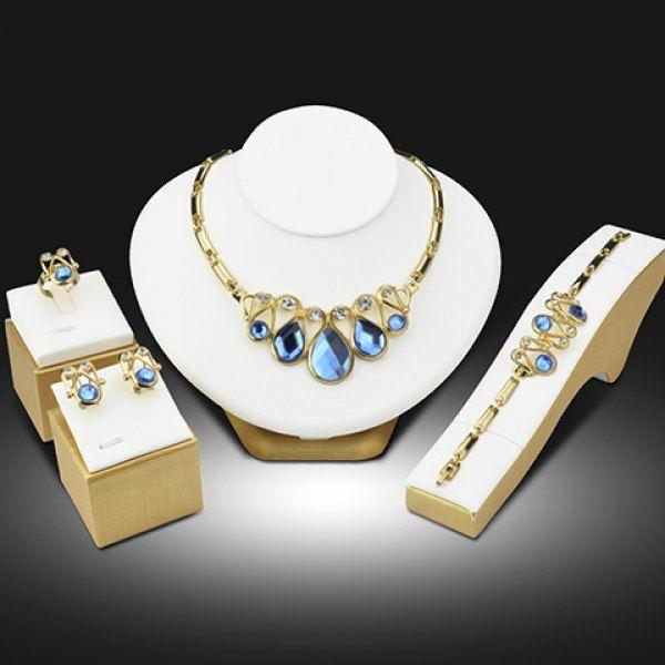 A Suit of Gorgeous Faux Crystal Rhinestone Teardrop Necklace Bracelet Earrings and Ring For Women #jewelry, #women, #men, #hats, #watches, #belts