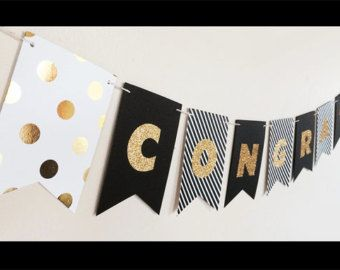 Graduation Banner - Congrats Grad Banner - Graduation Party Banner - Glitter Personalized Graduation Banner Congratulations Banner (EB3062)