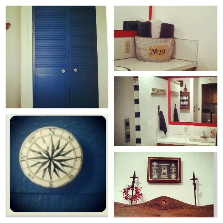 Newly Refurbished Bathroom Diy Nautical Themed Red