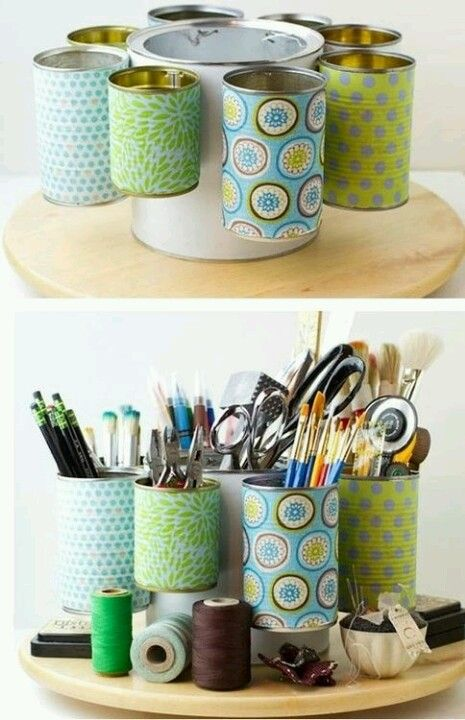 Craft organizer = Paint can + small cans + hooks + special paper + Lazy Susan ... I want the cans to be detachable so I can carry them around to where I need them