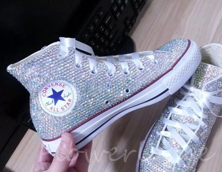 Rhinestone Converse Shoes bling converse sparkle AB by Flowerlodge