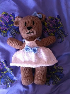 Muahahahaha my creations come to life!! - MY BABY!! The first ever fully completed bear I've ever knitted! She's the biggest of my knitted toys and she took about a month to knit
