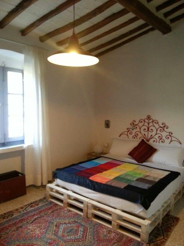recycled bed, blanket, headboard