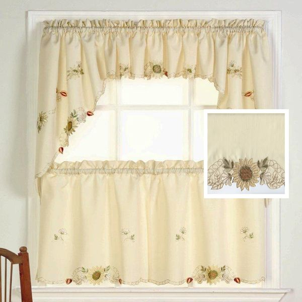 Linen Lorraine Home Fashions: Sunflower Floral Kitchen Tiers And Valance By Lorraine