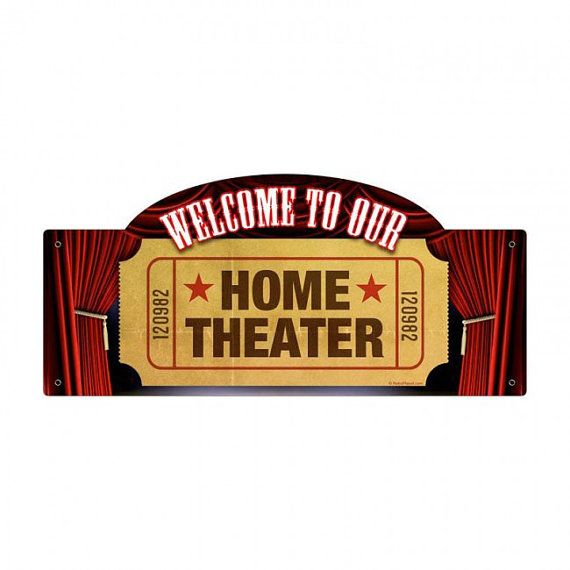 Vintage welcome to our home theater metal by HeritagePrimitives