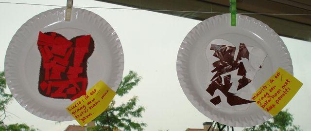 Op mijn boterham zit..  Laat de kinderen op een kartonnen bordje een uitgeprikte/knipte boterham plakken. De kinderen beplakken de boterham vervolgens met hetgeen wat zij graag eten!