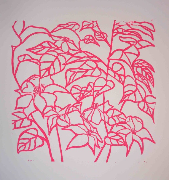 Hot Pink Clematis Vine by EluGallery on Etsy, $60.00 - beautiful in a square frame & can be printed in any color.