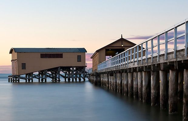 Eye-catching contours and the charm of Queenscliff Pier, Victoria, inspired this photo, says Jenny Young. Built in 1886-87 the pavilion has provided shelter for countless ferry passengers and sightseers. -- Photo Credit: Jenny Young
