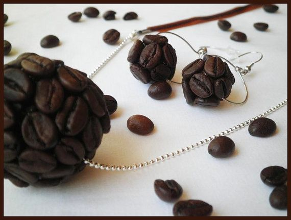 Coffee Jewlry Set with Original Coffee Beans by InspiredColours