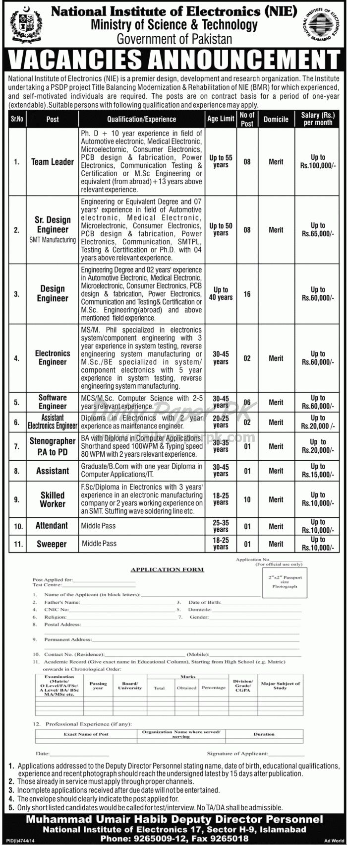 Pakistan Govt Jobs in National Institute of Electronics NIE, Ministry of Science & Technology Islamabad For #jobs detail and how to apply: #paperpk http://www.dailypaperpk.com/jobs/232105/pakistan-govt-jobs-national-institute-electronics-nie-ministry-science-technology-islamabad
