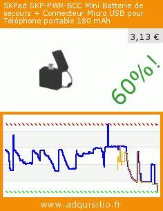 SKPad SKP-PWR-BCC Mini Batterie de secours + Connecteur Micro USB pour Téléphone portable 180 mAh (Accessoire). Réduction de 60%! Prix actuel 3,13 €, l'ancien prix était de 7,79 €. http://www.adquisitio.fr/skpad/skp-pwr-bcc-mini-batterie