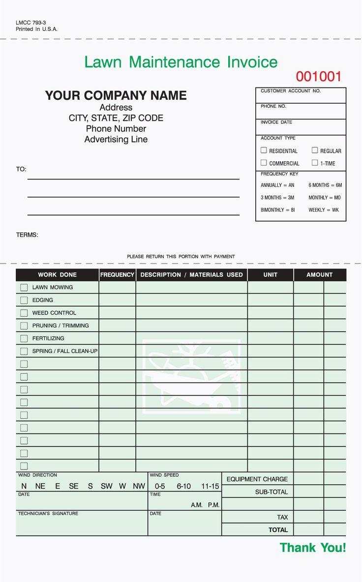 3 Part Lawn Care Invoices Lawn Maintenance Lawn Care Business Lawn Care Business Cards Lawn care bid sheet template