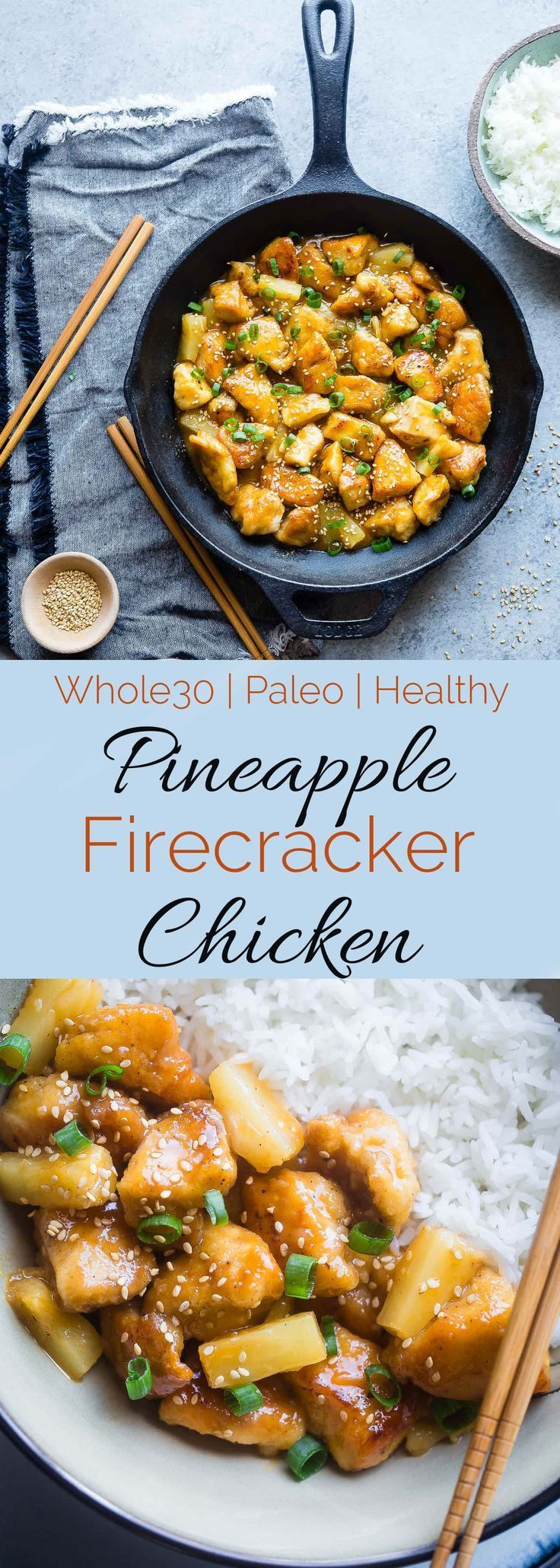 Firecracker Pineapple Chicken. This healthy sweet and spicy chicken is way better than takeout.