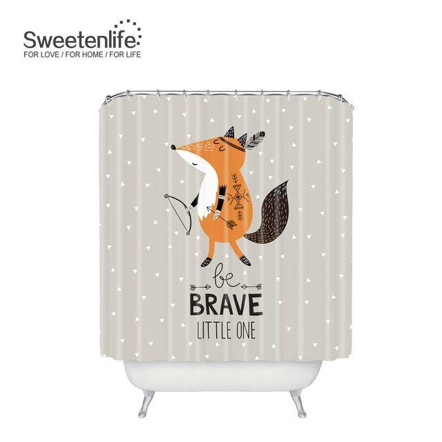 Sweetenlife Cartoon Fox Bathroom Curtain Polyester Waterproof Shower Curtain Hooks 180cm 180cm Curtains Bath Customize Wh Shower Curtain Hooks Bathroom Curtains
