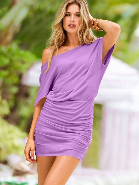 Off The Shoulder Dress What to wear, party to poolside. This off-the-shoulder dress is designed to channel your inner siren, with a curve-hugging fit, ruching in all the right places and leg-loving length. Soft and drapey in our slinky cotton and modal fabric.