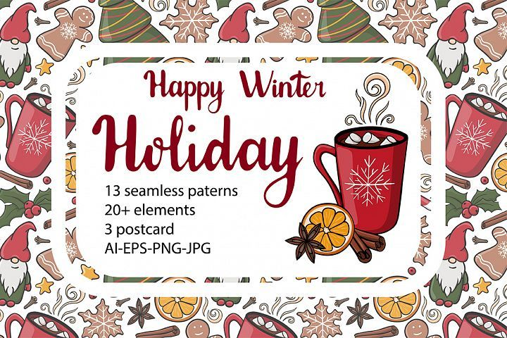 Download Happy Winter Holiday Collection Patterns Cliparts Postcards 406285 Patterns Design Bundles