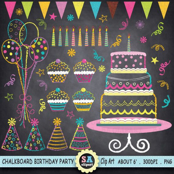 """Chalkboard Birthday Party Clip Art, """"Birthday CLIP ART"""" pack,Party Clip art,Balloon,Cup Cake,invitations,banner,star,candles,printable Pt010"""