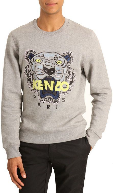 615f388d Kenzo Flecked grey T-shirt ith Tiger embroidery on shopstyle.com ...
