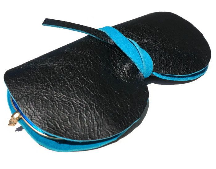 Unisex black/turquoise leather sunglasses case! By Younique.gr!!!