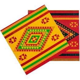 Een pakje met 12 servetten bedrukt in Mexicaanse stijl. Afmeting: 33 x 33cm. themafeesten mexicaans