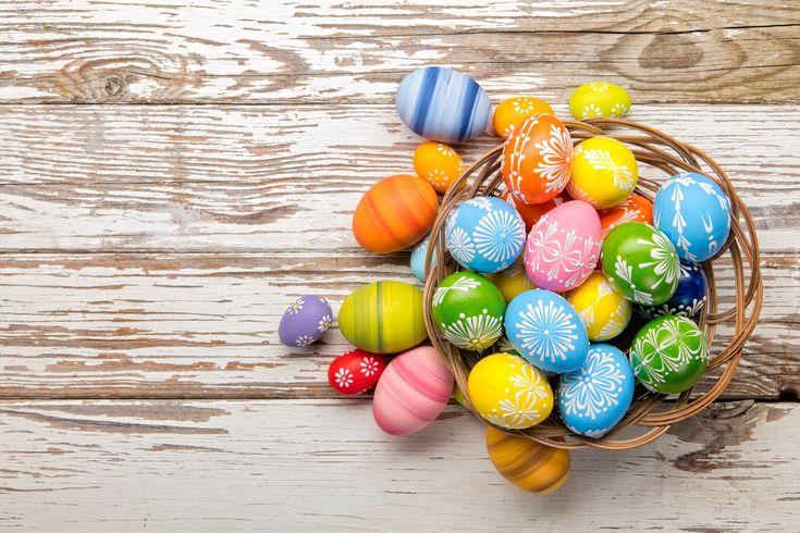 Wielkanoc, Kolorowe, Pisanki, Koszyk, Deski