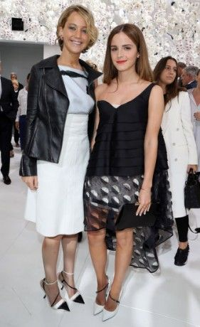 Jennifer Lawrence and Emma Watson met at the Christian Dior Haute Couture show in Paris today (07-07-14)