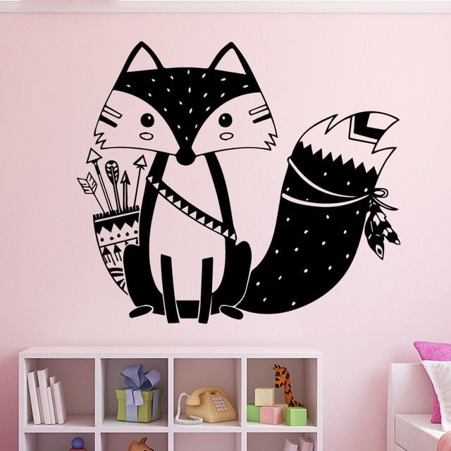 lovely fox animal diy wallpaper removable wall stickers for kids