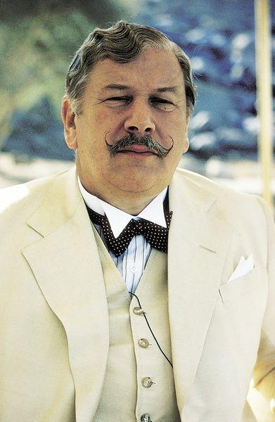 "Peter Ustinov as Hercule Poirot, Agatha Christie's ""Death On The Nile"", 1978."