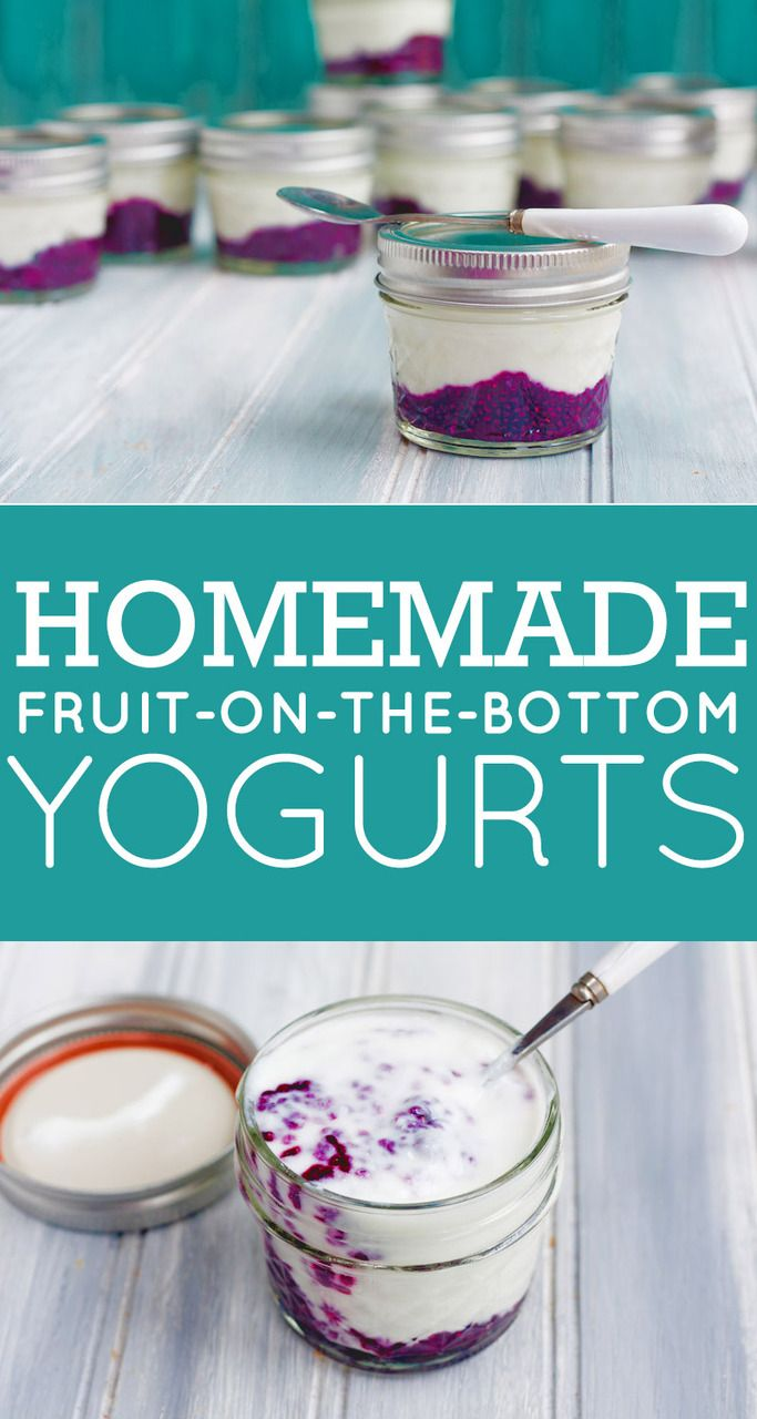 Homemade Fruit-on-the-Bottom Yogurts - 1-1/2 cups fresh or frozen fruit 3 tablespoons chia seeds 1/2 cup water 2-4 tablespoons honey or maple syrup Combine all ingredients in a medium saucepan over medium heat. Bring to a boil, reduce heat and simmer until sauce is thickened.Spoon into yogurt jars (about 2 tablespoons per single-serving jar)