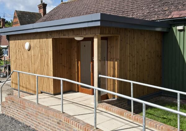 A Close Up The Hall New Extension With Thermowood Cladding