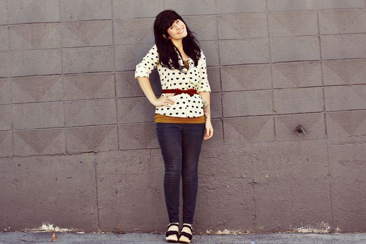 love the blouse and belt!    abeautifulmess.com: Heart Patterns, Blouse, Heart Print, Heart Shirt