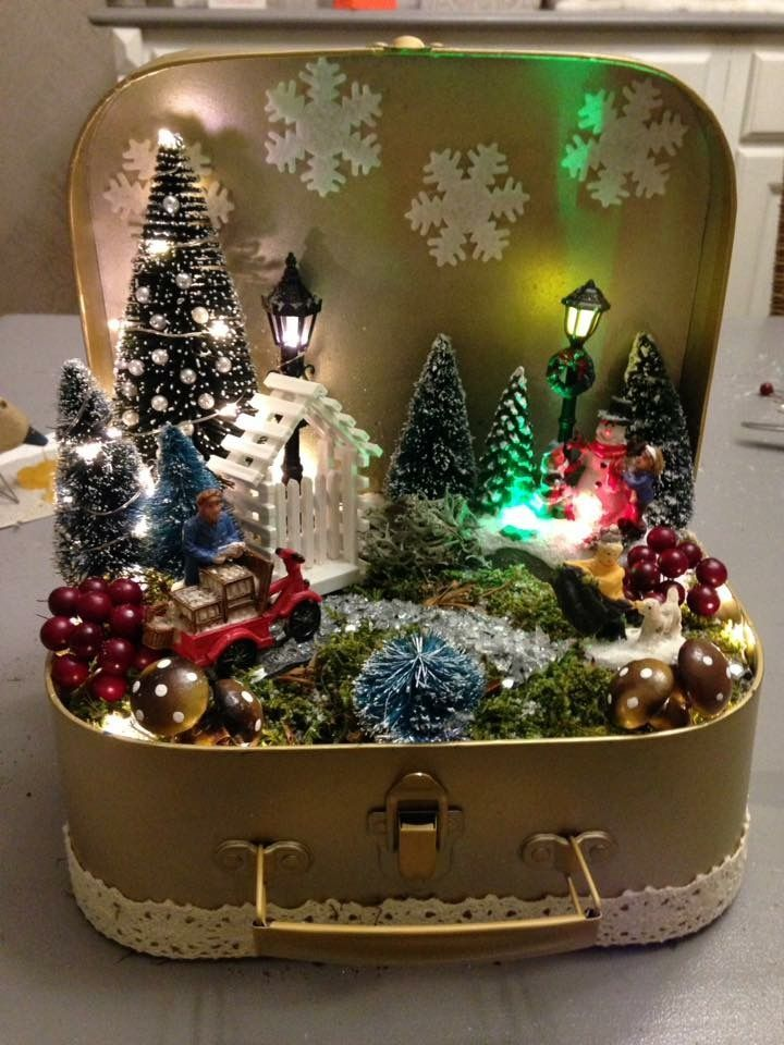Small Suitcase Notitle Vintage Christmas Crafts Vintage Christmas Decorations Retro Christmas Decorations