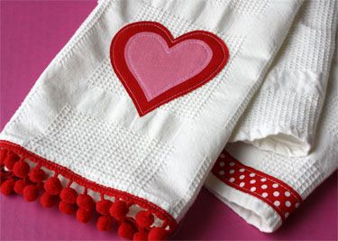 V-day towels (need: tea towels, Heat N Bond Lite, ribbon, pom pom trim, fabric scraps)