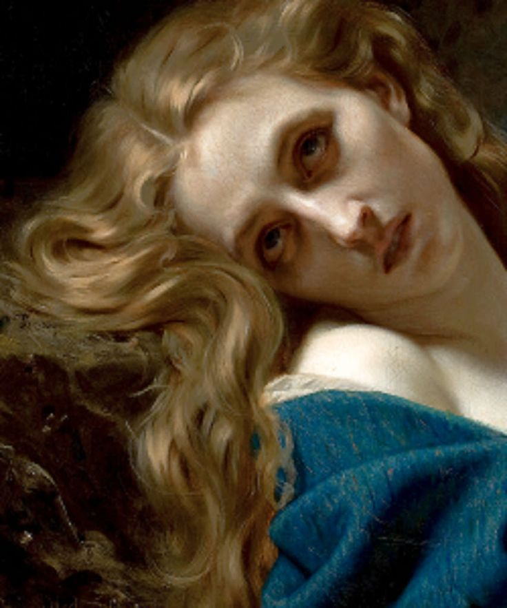 """nigra-lux: """" MERLE, Hughes (1823-1881) Mary Magdalene in the cave, detail 1868 """""""