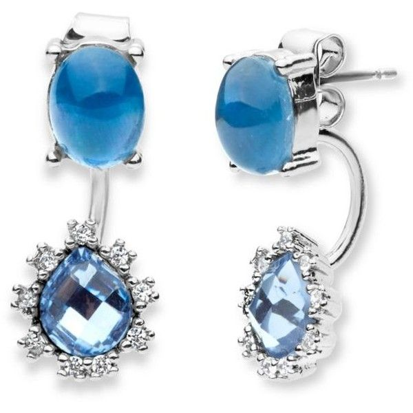 Lonna  Lilly Blue Silver-Tone Blue Cubic Zirconia Front And Back... (2620 RSD) ❤ liked on Polyvore featuring jewelry, earrings, blue, blue earrings, silver tone earrings, cz jewellery, oxidized jewelry and silvertone jewelry