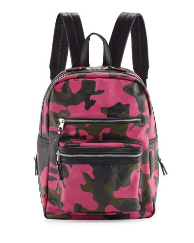 Danica Large Leather Backpack, Pink Camo