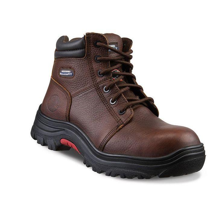 Skechers Work Relaxed Fit Burgin Men's Composite-Toe Boots, Size: 10.5 Wide, Dark Brown