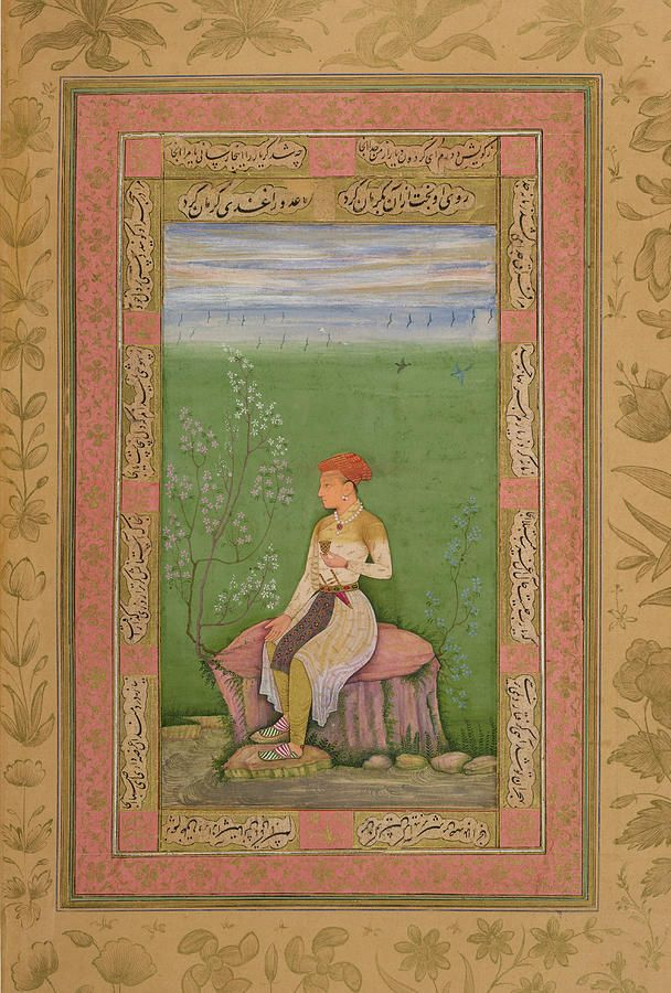 A youth seated on a boulder by a stream and holding a jewelled cupopaque