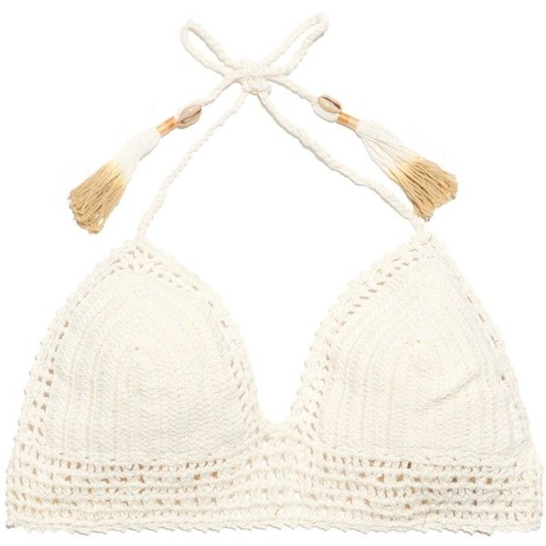 She Made Me Essential triangle bikini top (€100) found on Polyvore featuring swimwear, bikinis, bikini tops, cream, crochet swimwear, crochet bikini, swim suit tops, macrame bikini and crochet swimsuit top