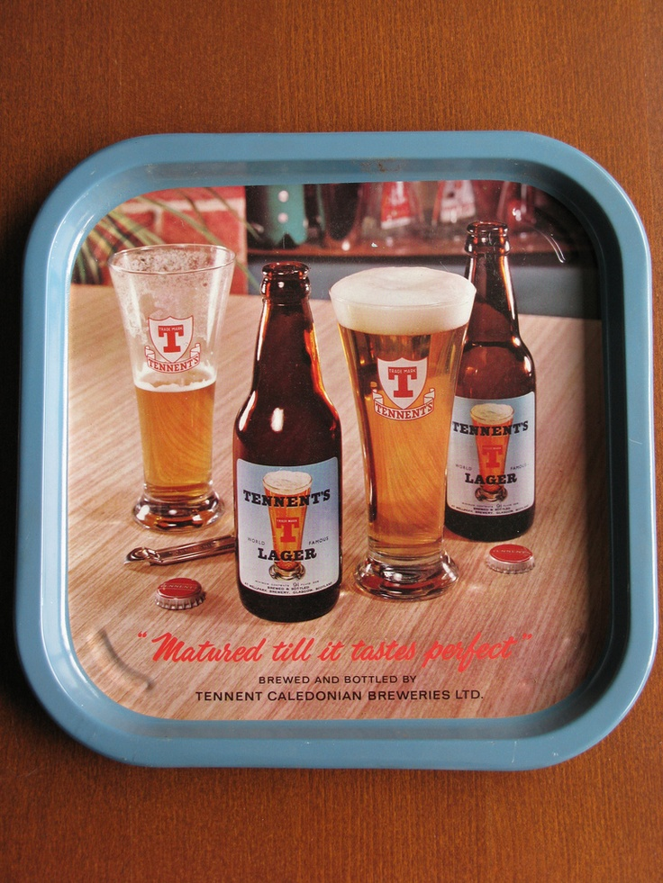 Vintage - Tennent's Brewery of Glasgow - Scotland - Tennent's Lager - Tray - 1965