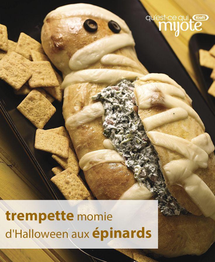 Cette idée est si populaire sur les réseaux que ça fait peur ! Ce « pain momie » fait à partir de pâte à pizza congelée, puis rempli d'une savoureuse trempette aux épinards, va réveiller les morts à votre fête de l'Halloween… Tapez ou cliquez sur la photo pour obtenir la #recette.