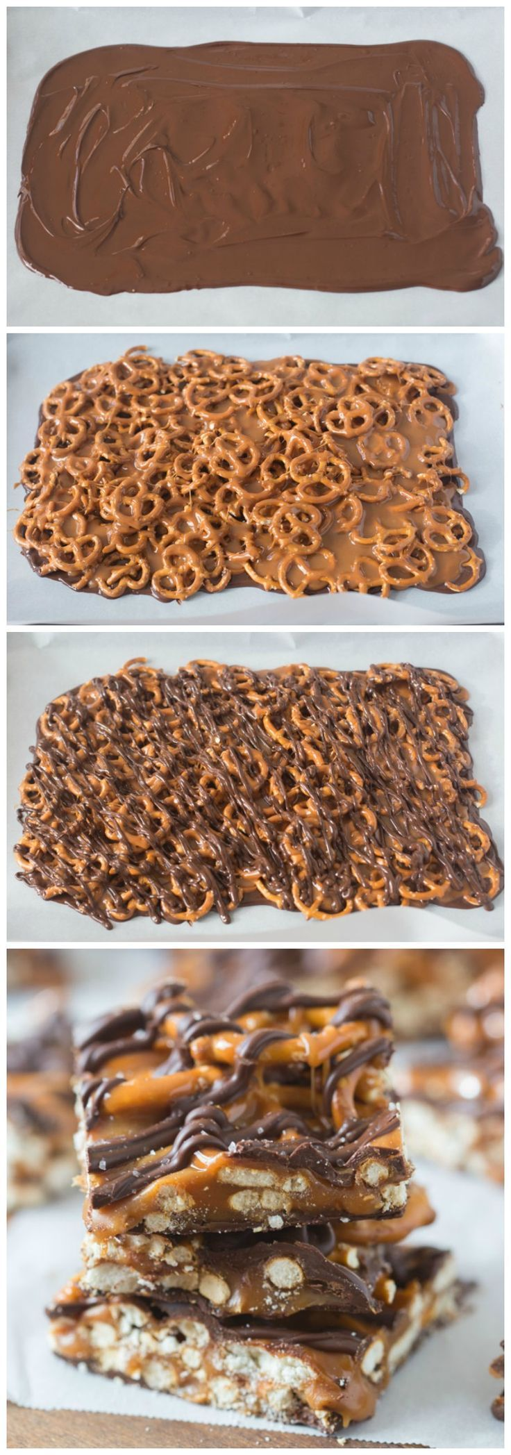 4-ingredient Salted Chocolate Caramel Pretzel Bars