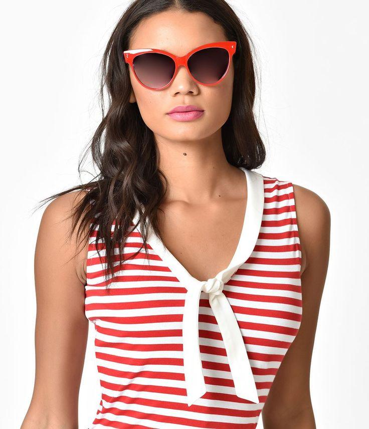 Voodoo Vixen Red & White Nautical Striped Haili Top