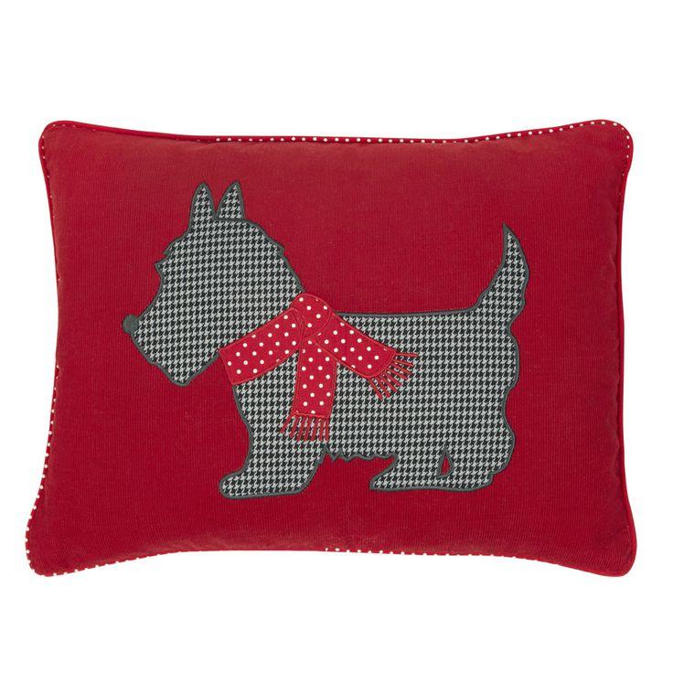 Laura Ashley Scotty Dog Christmas Cushion
