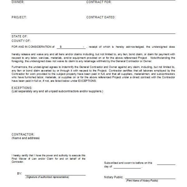 Conditional Final Waiver Of Lien Upon Payment Resume Examples