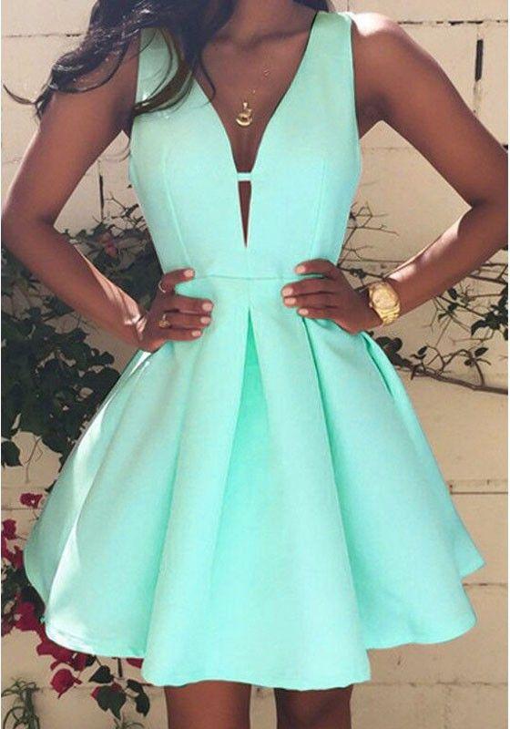 Mini vestido llano plisado algodón de partido de escote de plunging azul cielo
